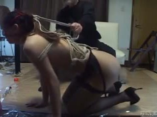 Subtitled mixed jepang budak, dominasi, sadism, masochism on a leash with silit play
