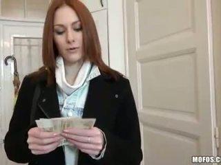 Redhead European girl screwed for money