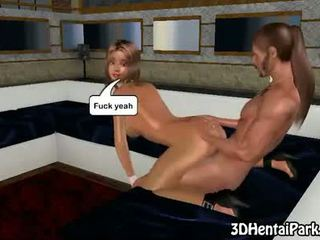 3d brunette gets a massage before getting fucked