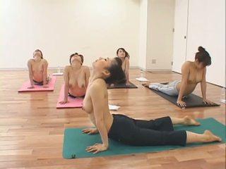 Pretty Asian girls in yoga class