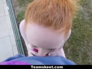 redhead, shaved, pale