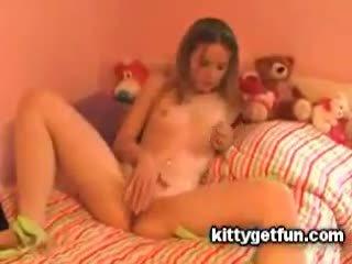 Kitty get fun: cute rumaja masturbates in this free tube video